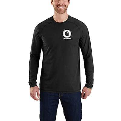 Carhartt Men's Black Force Cotton Delmont Long-Sleeve Graphic T-Shirt - front