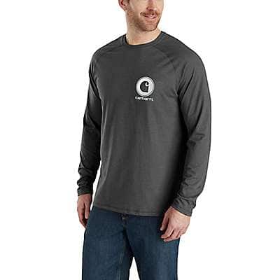 Carhartt Men's Granite Heather Force Cotton Delmont Long-Sleeve Graphic T-Shirt - front