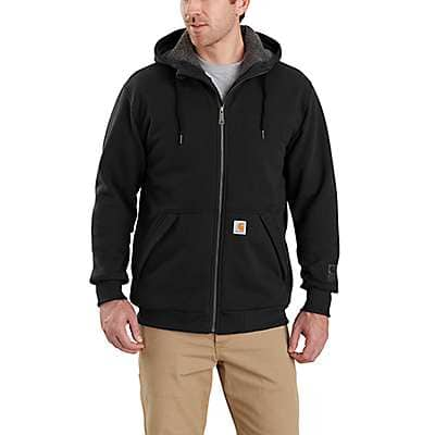 Carhartt Men's Black Rain Defender® Rockland Sherpa-Lined Hooded Sweatshirt - front
