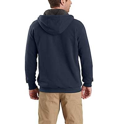 Carhartt Men's Black Rain Defender® Rockland Sherpa-Lined Hooded Sweatshirt - back