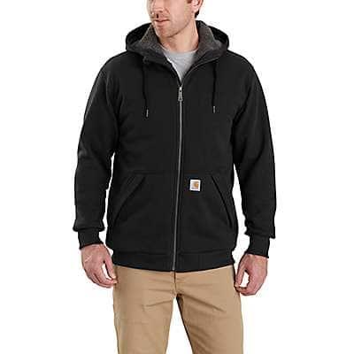 Carhartt Men's Black Rain Defender® Relaxed Fit Midweight Sherpa-Lined Full-Zip Sweatshirt