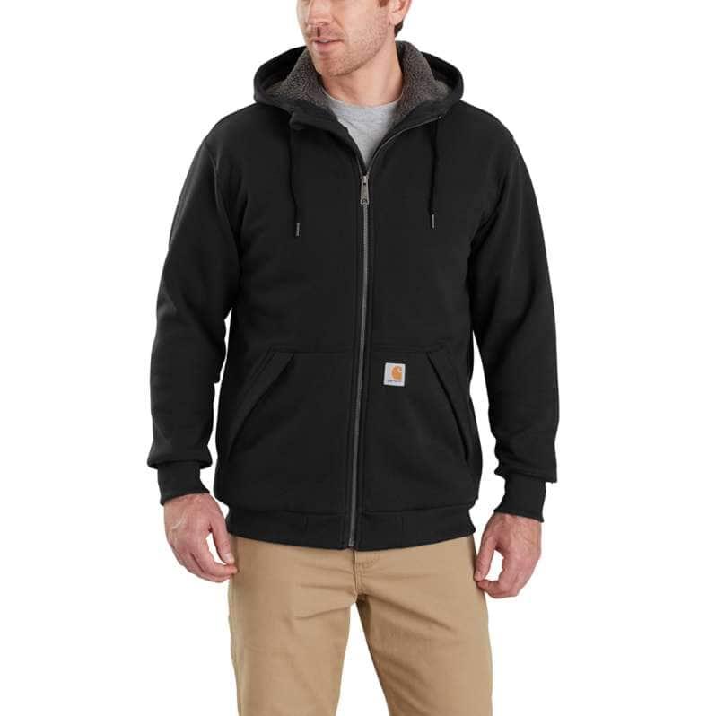Carhartt  Black Rain Defender® Relaxed Fit Midweight Sherpa-Lined Full-Zip Sweatshirt
