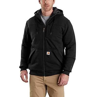 Carhartt Men's Black Rain Defender ® Rockland Quilt-Lined Full-Zip Hooded Sweatshirt - front