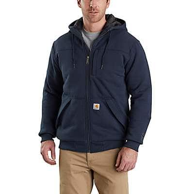 Carhartt Men's Black Rain Defender ® Rockland Quilt-Lined Full-Zip Hooded Sweatshirt - front