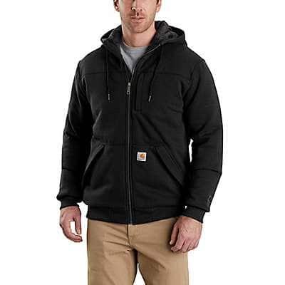 Carhartt Men's Black Rain Defender® Relaxed Fit Midweight Quilt-Lined Full-Zip Sweatshirt
