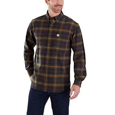 Carhartt  Army Green Rugged Flex® Hamilton Plaid Flannel Shirt - front
