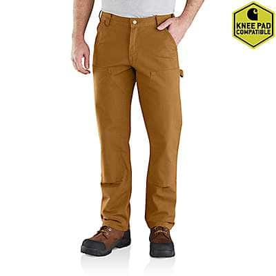 Carhartt Men's Carhartt Brown Rugged Flex® Relaxed Fit Duck Double Front Pant - front