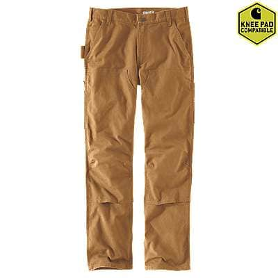 Carhartt Men's Carhartt Brown Rugged Flex® Straight Fit Duck Double Front Pants - front