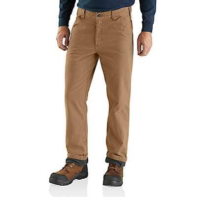 Carhartt Men's Dark Khaki Rugged Flex® Relaxed Fit Canvas Flannel-Lined Utility Work Pant