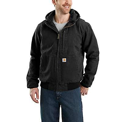 Carhartt Men's Black Full Swing® Loose Fit Washed Duck Fleece-Lined Active Jac