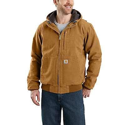 Carhartt Men's Carhartt Brown Full Swing® Loose Fit Washed Duck Fleece-Lined Active Jac