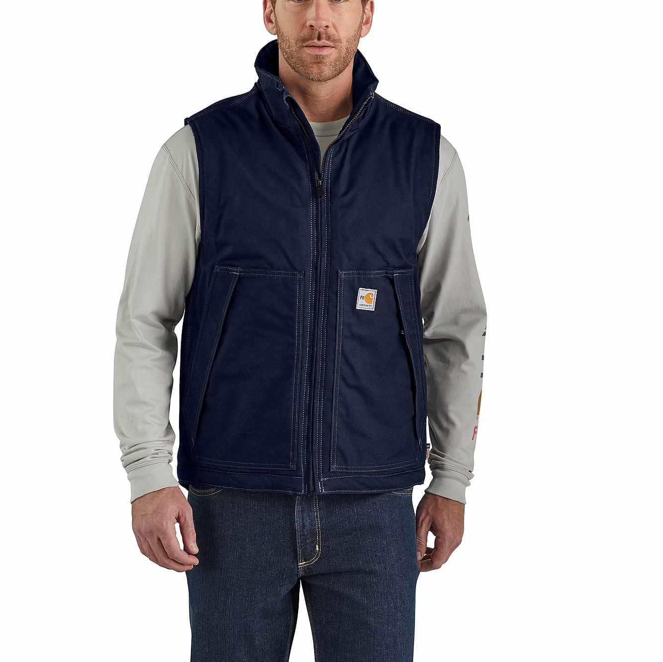 Picture of Flame-Resistant Quick Duck®  Insulated Vest in Dark Navy