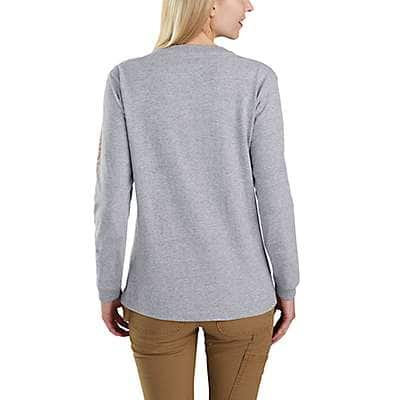 Carhartt Women's Rose Smoke Heather WK231 Workwear Sleeve Logo Long-Sleeve T-Shirt - back
