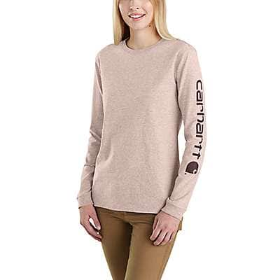 Carhartt Women's Rose Smoke Heather WK231 Workwear Sleeve Logo Long-Sleeve T-Shirt - front