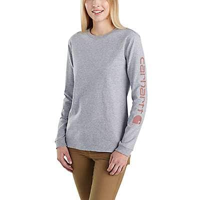 Carhartt Women's Heather Gray Loose Fit Heavyweight Long-Sleeve Logo Sleeve Graphic T-Shirt