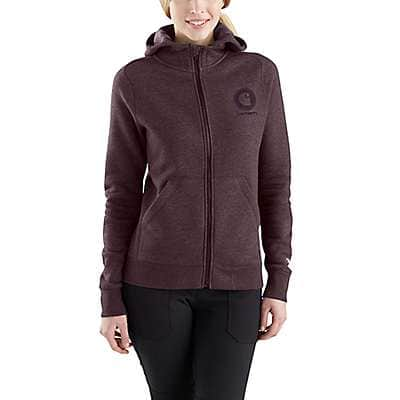Carhartt Women's Fudge Heather Force® Delmont Graphic Zip-Front Hooded Sweatshirt - front