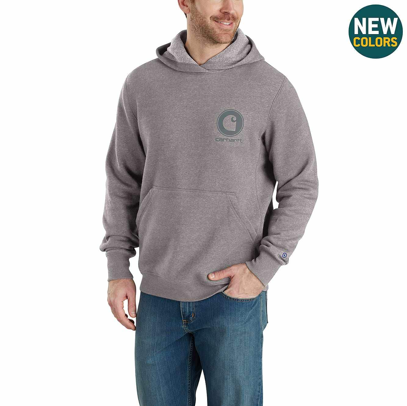 Picture of Force® Delmont Graphic Hooded Sweatshirt in Asphalt Heather/Gray