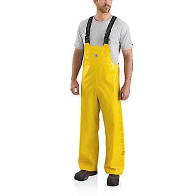 Carhartt Men's Yellow Lightweight Waterproof Rainstorm Bib Overalls - front