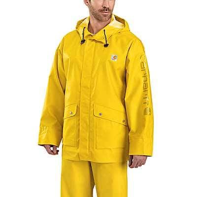 Carhartt Men's Yellow Midweight Waterproof Rainstorm Jacket - front