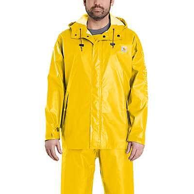 Carhartt Men's Yellow Lightweight Waterproof Rainstorm Jacket - front