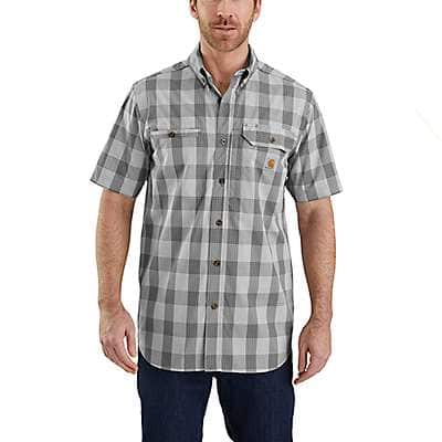Carhartt Men's Asphalt Carhartt Force® Ridgefield Plaid Short-Sleeve Shirt - front