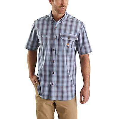 Carhartt Men's Steel Blue Carhartt Force® Ridgefield Plaid Short-Sleeve Shirt - front
