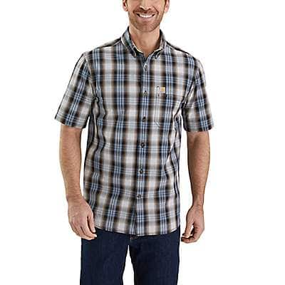 Carhartt Men's Steel Blue Essential Plaid Button-Down Short Sleeve Shirt - front