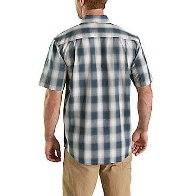 Carhartt Men's Steel Blue Essential Plaid Button-Down Short Sleeve Shirt - back