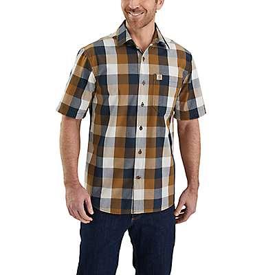 Carhartt Men's Carhartt Brown Essential Plaid Open Collar Short Sleeve Shirt - front