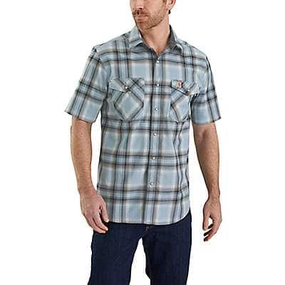 Carhartt Men's Dusty Blue Rugged Flex Bozeman Short-Sleeve Shirt - front