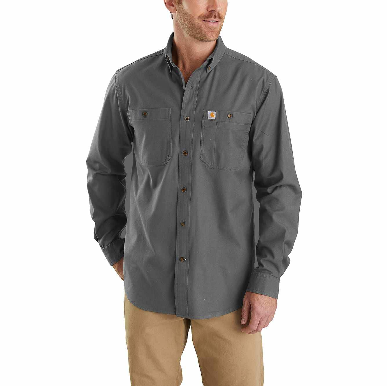 Picture of Rugged Flex Rigby Long-Sleeve Work Shirt in Gravel