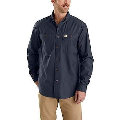 Carhartt Men's Navy Rugged Flex Rigby Long-Sleeve Work Shirt - front