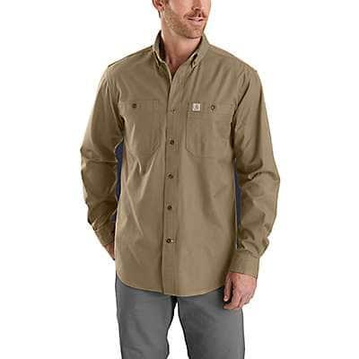 Carhartt Men's Dark Khaki Rugged Flex® Relaxed Fit Midweight Canvas Long-Sleeve Shirt