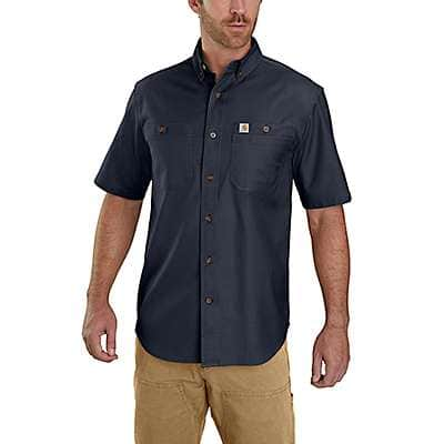 Carhartt Men's Steel Blue Rugged Flex Rigby Short-Sleeve Work Shirt - back