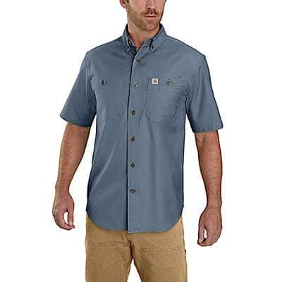 Carhartt Men's Steel Blue Rugged Flex Rigby Short-Sleeve Work Shirt - front