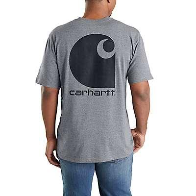Carhartt Men's Granite Heather Workwear C Logo Graphic Pocket Short-Sleeve T-Shirt - front
