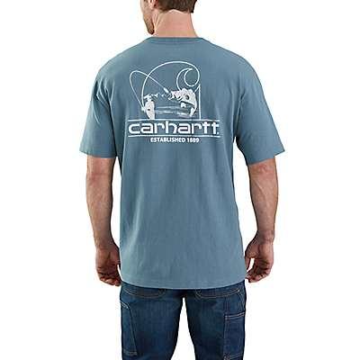 Carhartt  Steel Blue Workwear Logo Fish Graphic Pocket Short-Sleeve T-Shirt - front