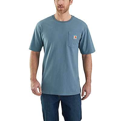 Carhartt Men's Steel Blue Workwear Logo Fish Graphic Pocket Short-Sleeve T-Shirt - back