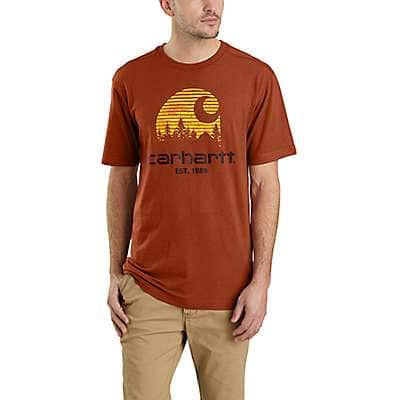 Carhartt Men's Fired Brick Heather Maddock Mountain C Graphic Short-Sleeve T-Shirt - front