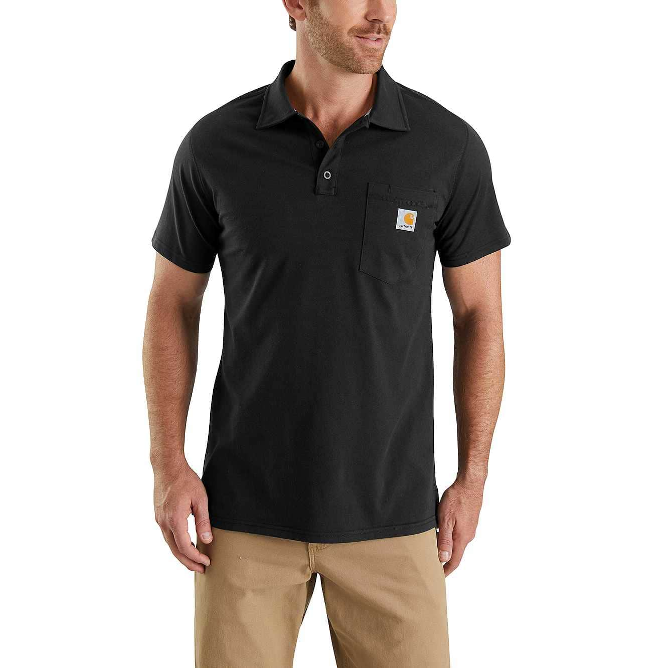 Picture of Carhartt Force® Cotton Delmont Pocket Polo in Black