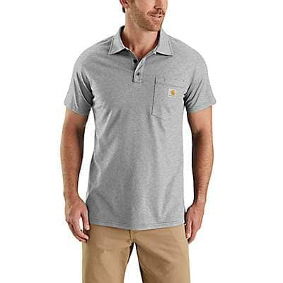 Carhartt  Heather Gray Carhartt Force® Cotton Delmont Pocket Polo - front