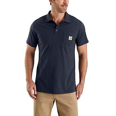 Carhartt  Navy Carhartt Force® Cotton Delmont Pocket Polo - front