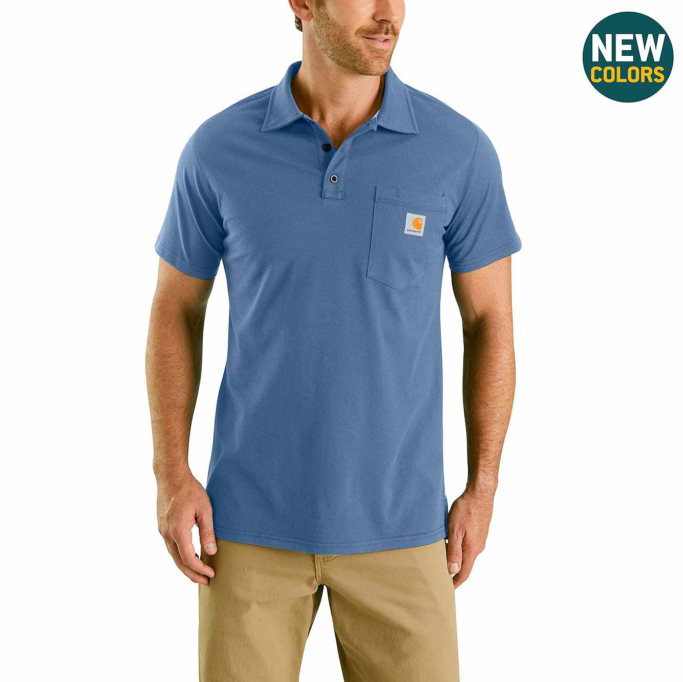 Picture of Carhartt Force® Cotton Delmont Pocket Polo in Coastal