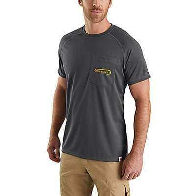 Carhartt Men's Misted Yellow Carhartt Force® Fishing Graphic Short-Sleeve T-Shirt - front