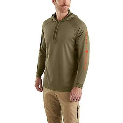 Carhartt Men's Military Olive Carhartt Force® Fishing Graphic Hooded T-Shirt - front