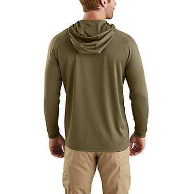 Carhartt Men's Military Olive Carhartt Force® Fishing Graphic Hooded T-Shirt - back