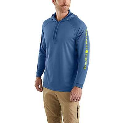 Carhartt Men's Federal Blue Carhartt Force® Fishing Graphic Hooded T-Shirt - front