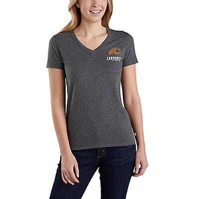 Carhartt Women's Carbon Heather Nep Lockhart Graphic Outdoor Short-Sleeve V-Neck T-Shirt - front