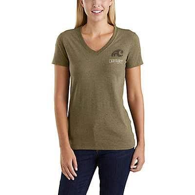 Carhartt Women's Carbon Heather Nep Lockhart Graphic Outdoor Short-Sleeve V-Neck T-Shirt - front