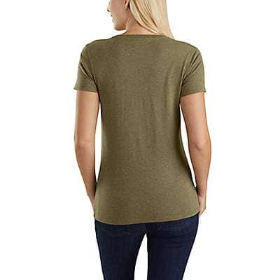 Carhartt Women's Carbon Heather Nep Lockhart Graphic Outdoor Short-Sleeve V-Neck T-Shirt - back